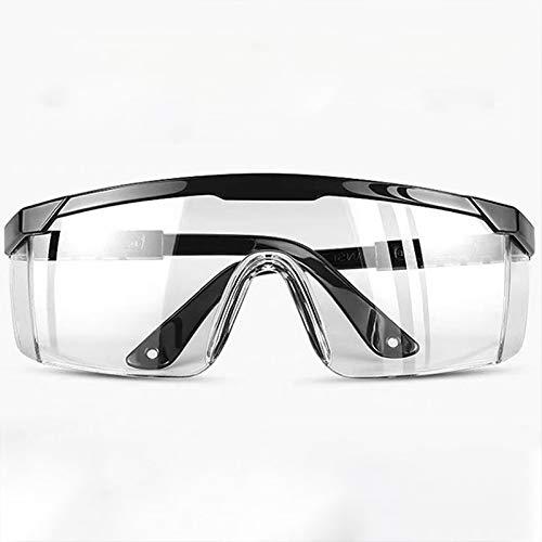 Blusea Occhiali di Protezione Pieghevoli Unisex Occhiali da Laboratorio Antivento Antipolvere Lenti Trasparenti per PC Nero/Trasparente