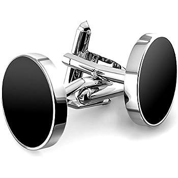 MFYS Jewelry ブラックオニキス シルバー ラウンド ファッション メンズ カフス (カフスボタン・カフリンクス) 専用ジュエリーBOX付