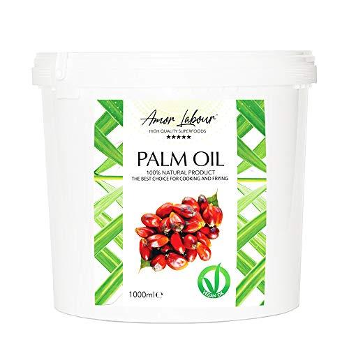 Amor Labour ® Palmöl Palmfett 1000ml | 100% Natural Palm Oil | Superfood with Vitamin E -Vegan-Raffiniert | Zum Frittieren, Kochen und Backen
