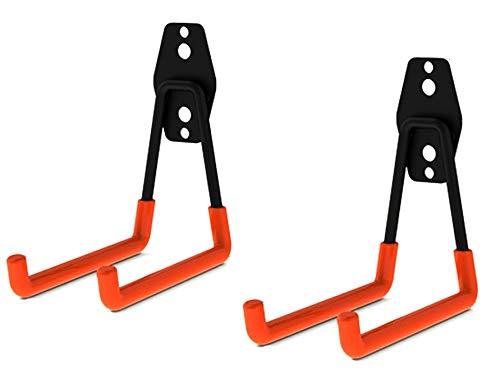 Garage Storage Utility Haken, Tiberham Heavy Duty Garage Hanger Doppelhaken Wandhaken mit Anti Rutsch Beschichtung, Wandmontage Gerätehaken Werkzeughalter für Leitern & Werkzeuge (2 Stück)