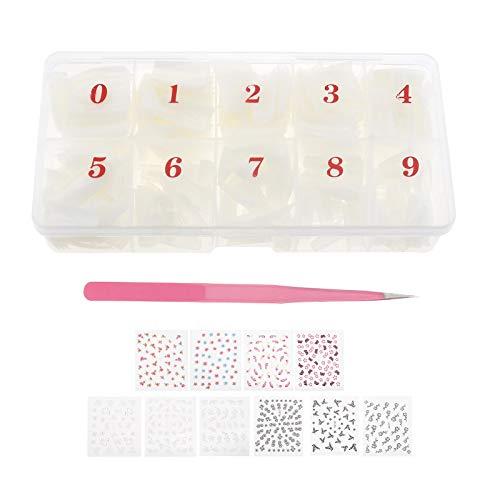 OTOTEC 511 Stks Franse Effect Nep Nagels Set met Opbergdoos 500cs Nagels 10 Vellen Nagel Art Stickers Pincet Salons DIY Professionele