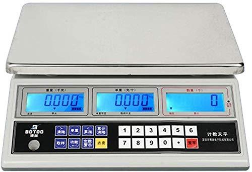 Smart Scale Escala de cocina digital 0.1g-30kg Cocina electrónica Escala de alimentos con pantalla LCD Plataforma de acero inoxidable Escala de pesaje Escala de cocción para hornear para hornear joyer