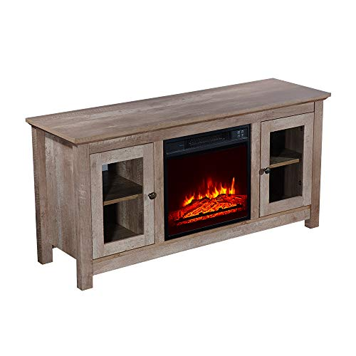 "ROVSUN Electric Fireplace TV Stand w/Remote & Side Cabinets, for TVs up to 51""W, Heater w/Realistic Flame Effect, Timer, Overheat Protection, 1400W, for Home Living Room Bedroom"