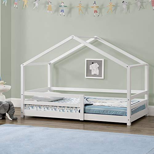 Cama para niños 90 x 200 cm Cama Infantil con Somier Estructura de Madera Pino En diseño de Casa con Reja de Seguridad Protección Blanco Lacado Mate