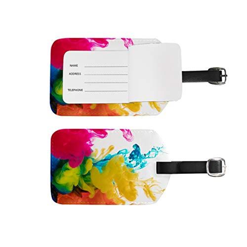 Etiquetas de equipaje para nombre de dirección, 2 unidades de etiquetas de identificación portátil para tarjetas de decoración, accesorios de viaje para maletas, bolsas, coloridas pinturas