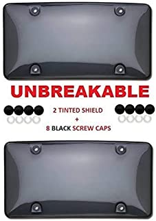 "Clear Smoked License Plate Shield Combo 2 Pack Premium Unbreakable Quality fits Standard 6"" x 12"" Plates Includes 8 Black ..."
