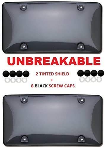 Clear Smoked License Plate Shield Combo 2 Pack Premium Unbreakable