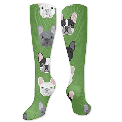 Adults Kids Comfortable Novelty Knee High Crew Socks Athletic Over The Calf Compression Socks Green Frenchie Dog Long Tube Stockings For Cosplay Halloween Party Daily Wear 19.7 Inch