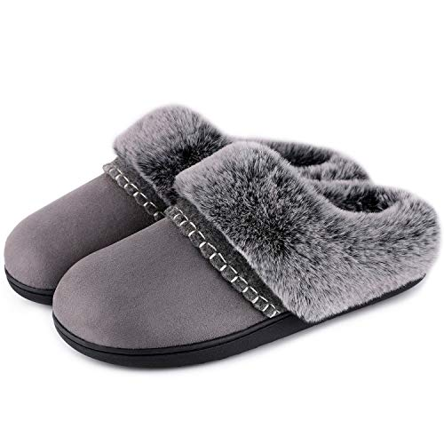 LongBay Women's Fluffy Fur Collar Slippers Comfortable Micro...