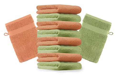 Betz Lot de 10 Gants de Toilette Taille 16x21 cm 100% Coton Premium Couleur Orange, Vert Pomme