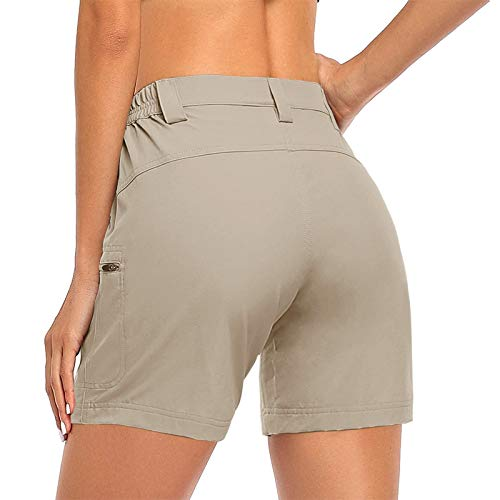 KIMOH Women's Hiking Shorts Stretch Quick Dry Outdoor Cargo Shorts Lightweight Elastic Waist Short Pants with Pockets (XL, Beige)