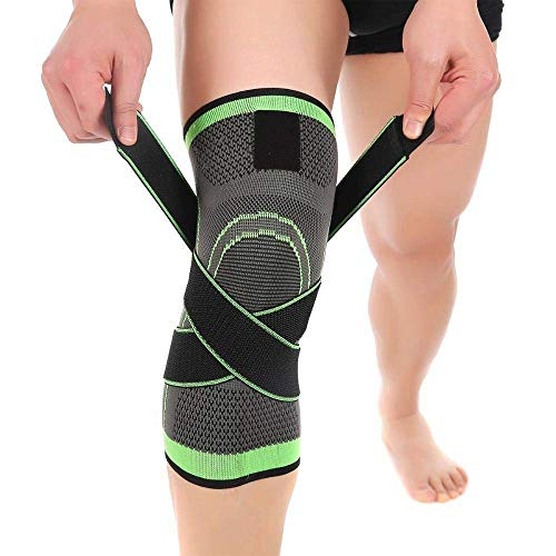 Knee Support Brace,Compression Knee Sleeve with Non Slip Adjustable Pressure Strap,Knee Protector for Running,Sports,Joint Patella Pain Relief,Arthritis and Injury Recovery,(M 35-40cm)