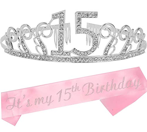 15th Birthday Gifts for Girls, 15th Birthday Tiara and Sash, 15 Quinceanera, Happy 15th Birthday Party Supplies, Birthday Crown for 15th Birthday Party Supplies and Decorations
