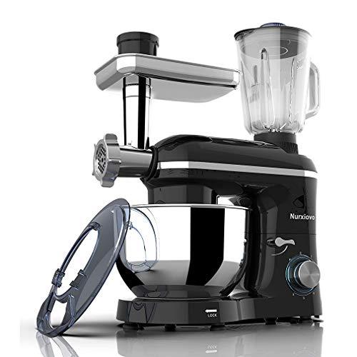 KOUQI 6.5L De Luxe Black Küchenmaschine Knetmaschine Mixer Edelstahl Schwarz 850 Watt Mit Tollem Zubehör