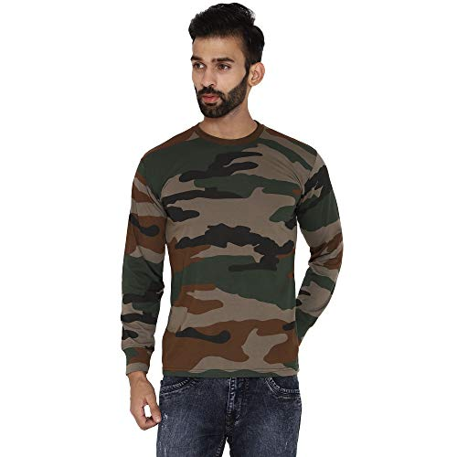 MILITIA Multicolor Indian Army T Shirt Full Sleeves (S)