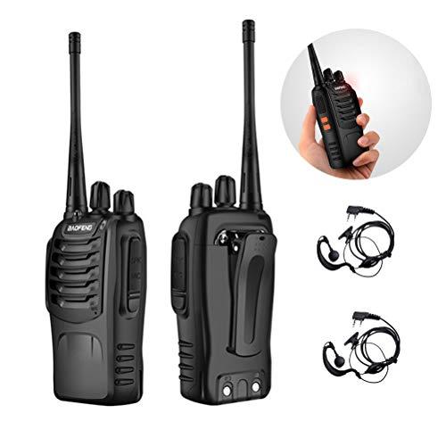 DOS Recargable Walkie Talkie 16 Canales 6000mah 10KM, Talkie walkie con Incorporado Antorcha de LED (2 PCS)
