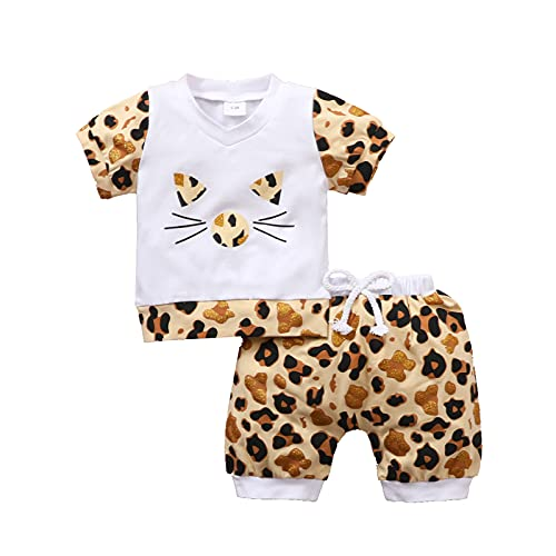 Outfit for Childrens,Newborn Infant Baby Girls Gilding Cat Tops Tee Leopard Shorts Set Outfits Casual Wear Yellow