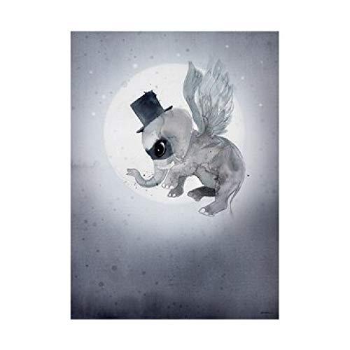 LiMengQi2 Nuevo Cuadro Moderno de Dibujos Animados de Ángel con diseño de Conejo para niñas, Póster Artístico en Aerosol de Color para niños, Cuarto de bebé, murales de Pared escandinavos(No Frame)