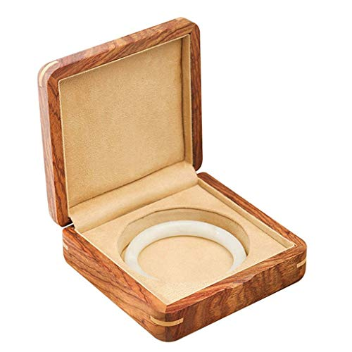 DLYDSSZZ Schmuck Box Portable Massivholz-Jade-Armband-Box Haushalt Schmuck Storage Box mit speziellem Futter for Schmuck als G Uhrenbox (Color : A, Size : 12 * 12 * 4.5 cm)