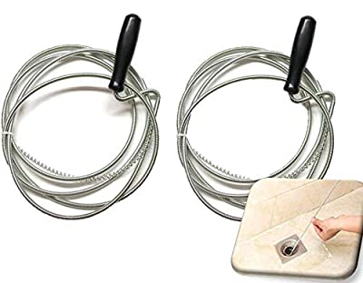 UrbHome Extra-Long Snake Drain Cleaner with Heavy Duty Stainless Steel Construction, Metal Clog Cleaning Tool, Flexible Drain Opener for Bathtub, Kitchen and Bathroom Sinks (2 Pack)