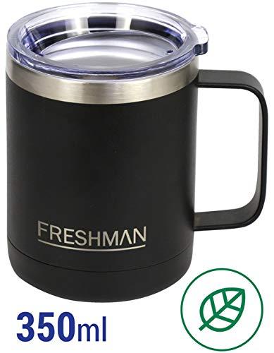 FRESHMAN doppelwandiger Vakuum-Thermobecher   Isolierbecher   Kaffeebecher to go aus 18/8 Edelstahl mit Deckel und Griff   Coffee to go Becher mit Henkel   Kaffeetasse groß 350 ml   XXL Thermotasse