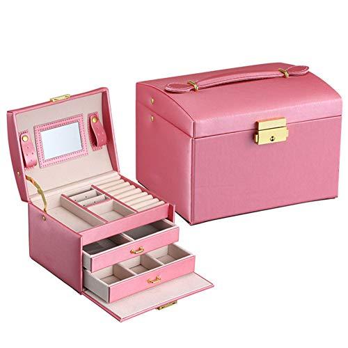 xiaohuozi Schmuckkästchen für Frauen DREI Etagen Schmuckkoffer mit Zwei Schubladen Äußeres Leder Samtfutter,Pink