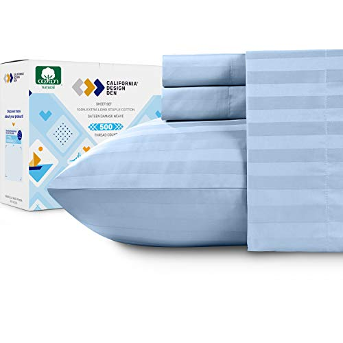 Sky Blue Queen Sheet Set - 500 Thread Count Damask Stripe 4 Piece Sheets, Extra Long Staple Cotton Sateen Weave, Elasticized Deep Pocket Fits Low Profile Foam and Tall Mattresses