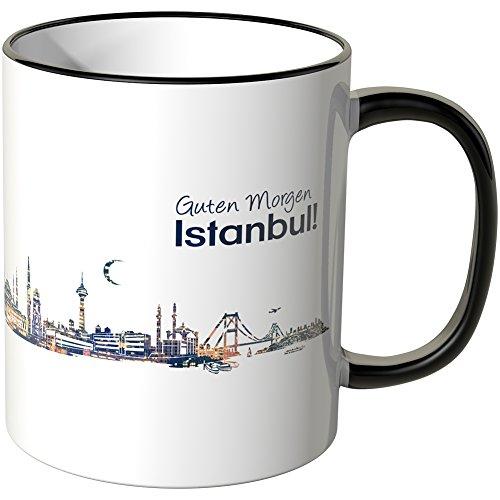 WANDKINGS® Tasse, Schriftzug Guten Morgen Istanbul! mit Skyline bei Nacht - SCHWARZ