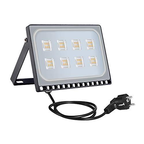 50w Foco Proyector LED Ultra Plano para exterior, Floodlight con SMD2835 LED Bombilla de Luz Cálida, IP67 Impermeable, Enchufe Contenido, 4250lm