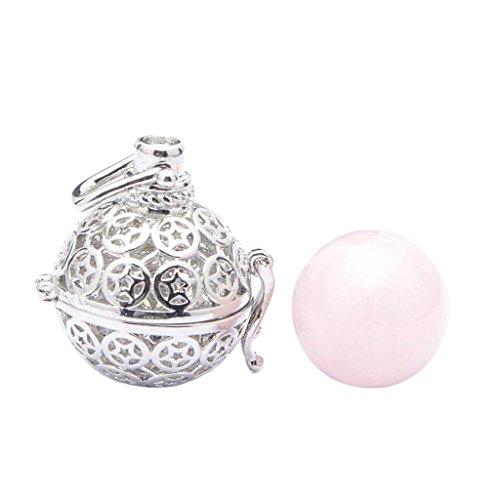 MIMORE - Colgante de jaula de pentáculo para mujer, diseño de pentagrama, cristal de ágata de cristal drusa de cuarzo y piedra de geoda – cristal rosa