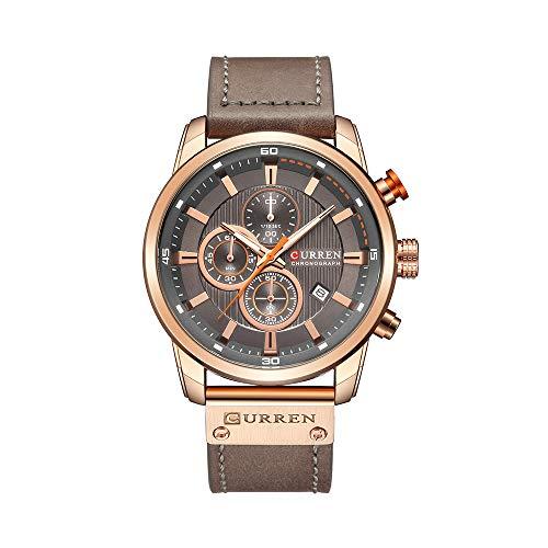 Herrenquarzuhr, Wasserdichte Kalenderuhr aus Leder, Business-Casual-Armband für Weihnachten, Neujahr, roseshellgraysurface