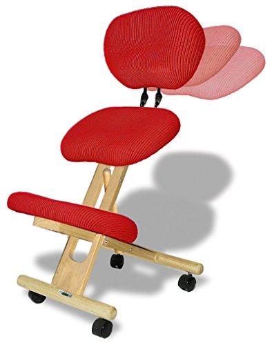 cinius Sedia ergonomica con Schienale, Naturale con sedute Rosse