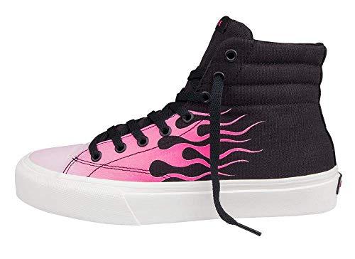 Straye - Zapatillas deportivas altas de skate unisex Venice SK8 Hi con llamas, color negro y rosa