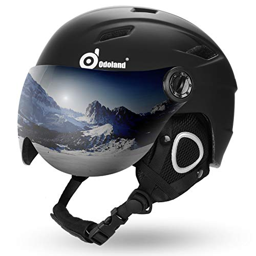 Odoland Ski Expert Helmet with VLT 18% Lens Visor Great for Skiing, Light Weight and Adjustable Ventilation Advanced Competition Snow Helmet with Warm Fluffy Earpads for Men Women Adult and Youth