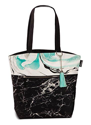 Badetasche Umhängetasche Tasche Einkaufs-/ Strandtasche Marmor- & Batik-Look schwarz weiß türkis