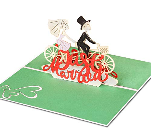 Liebevolle Hochzeitskarte Just Married - 3D Pop-Up Karte mit verliebtem Paar auf Fahrrad für Glückwünsche & Gratulation zur Hochzeit – hochwertige Glückwunschkarte als Hochzeitsgeschenk