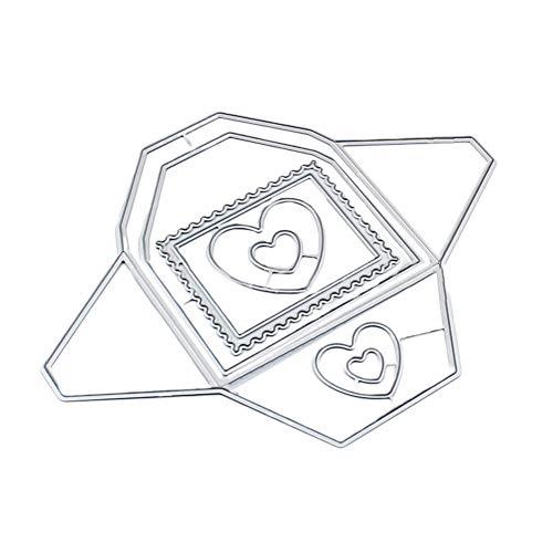 RIsxffp Troqueles de Corte de Sobres de corazón DIY Scrapbook en Relieve Tarjetas de Papel Craft Stencil Mold Silver