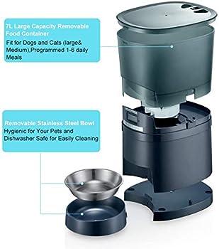 HoneyGuaridan A68 Distributeur automatique de nourriture pour chat et chien avec bol en acier inoxydable, contrôle des portions, enregistreur vocal, minuterie programmable jusqu'à 6 repas par jour