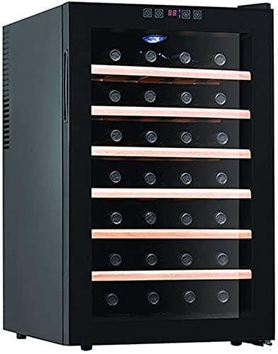 ZHZHUANG 28 Capacidad de Botella Enfriador de Vino Termoeléctrico, Refrigerador de Vinos con Controles de Temperatura Digital, Operación Silenciosa, Bodega de Vino, Refrigerador de Vino Negro,Negro,4