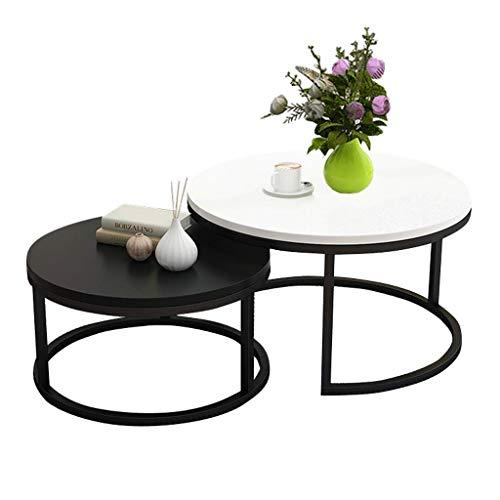 FCXBQ Zestaw 2 stolików kawowych z lakierowanego żółtego białego, okrągłego stolika pomocniczego, nowoczesny, stół końcowy do salonu, rozkładany, można układać w stos, biały i czarny
