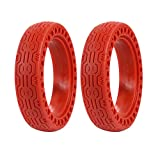 FOLOU Electric Scooter Replacement Wheels Solid Never Flat Tires for Xiaomi M365, Solid Tire Replacement for Electric Scooter gotrax gxl V2, 8.5 inches Scooter Wheel's Replacement(2 Tires) (Red)