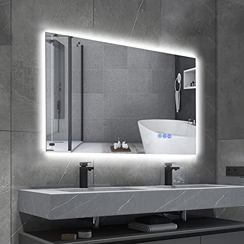 BBE Espejo de baño LED de 800 x 600 mm, Regulable, retroiluminado antivaho, Montaje en Pared, Espejo de Maquillaje con Interruptor táctil (Horizontal/Vertical) (32 x 24 Pulgadas)