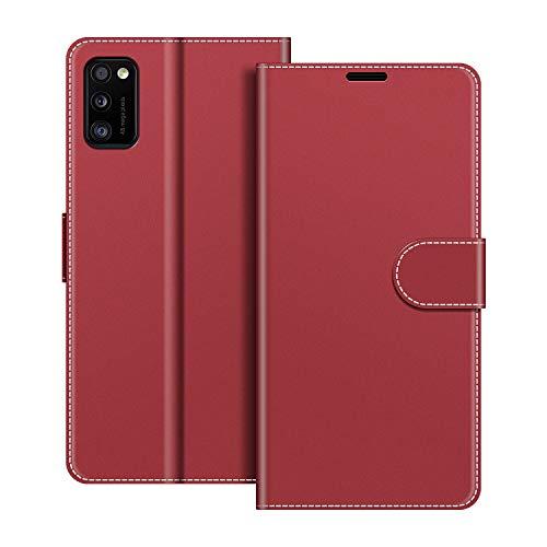 COODIO Handyhülle für Samsung Galaxy A41 Handy Hülle, Samsung Galaxy A41 Hülle Leder Handytasche für Samsung Galaxy A41 Klapphülle Tasche, Rot