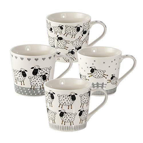 Juego de 4 tazas de café grandes con diseño de dibujos animados ovejas en color blanco y negro