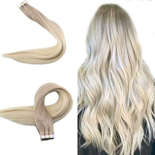 Easyouth Tape Hair Extensions Echthaar 20zoll 50g Aschblond mit Blond mischen Echthaar Extensions Ombre Tape in Ombre Extensions Echthaar Tape