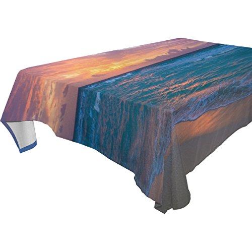 COOSUN Rectangle Sea Sunrise pour Party Mariage Tablecloth Vacances Lavable Polyester Tissu Table Couverture, 60 x 90 Pouces 60x90 (en) Multicolore