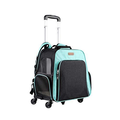 Pet Telescopic Portable Cart Luggage Handling Bag and Pet Travel Backpack Bag, Soft Hiking Bag, Detachable Roller Pet Backpack Oxford Cloth On Both Sides, Portable Pet Trolley Bag ( Color : Green )