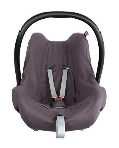 1 + 1 Funda de verano para portabebés, funda de asiento de coche, de algodón, tamaño 0+, universal para, por ejemplo, Maxi-Cosi, City SPS, CabrioFix, Pebble (algodón gris, 0+)