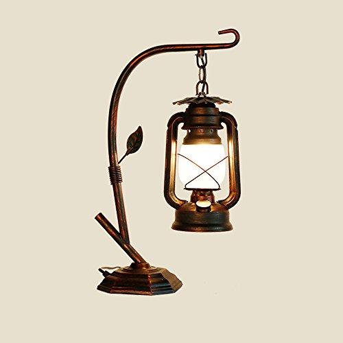 Rishx Retro Klassische Kerosin Laterne Eisen Tischleuchte Antike Loft E27 Schreibtischlampe Kaffee Restaurant Galerie Glas Desktop Leuchte (Color : Red copper color)