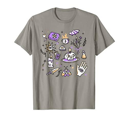 Bruja Wicca Estética Esotérica Brujería Elementos Mística Camiseta